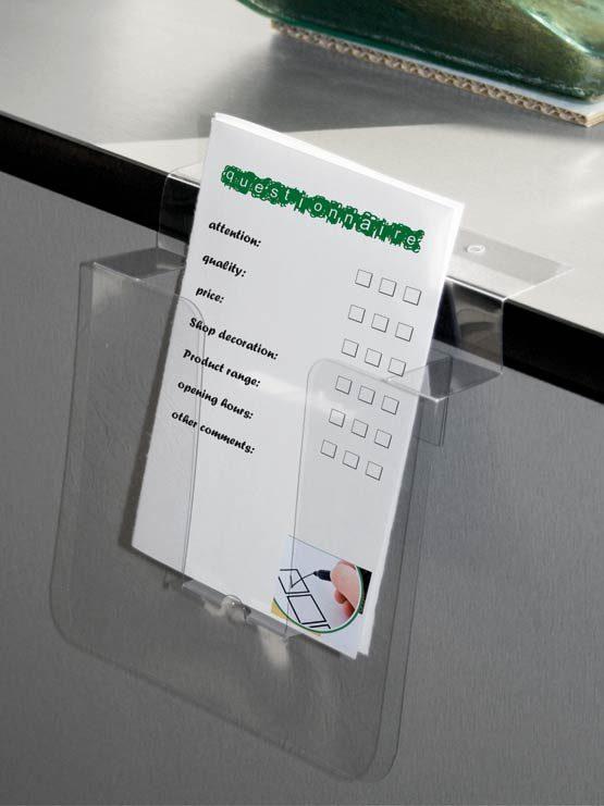 Porta Folletos PVC con Adhesivo y Agujeros 2018