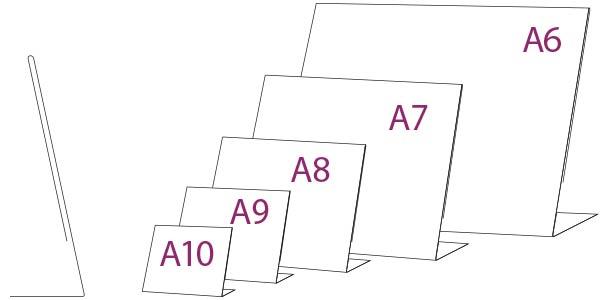 Porta gráfica en PVC tipo L horizontal medidas