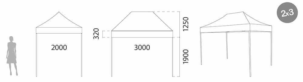 Carpa plegable acero 2x3 m medidas