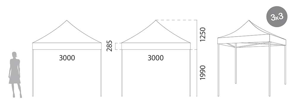 Carpa plegable Acero 3 metros medidas
