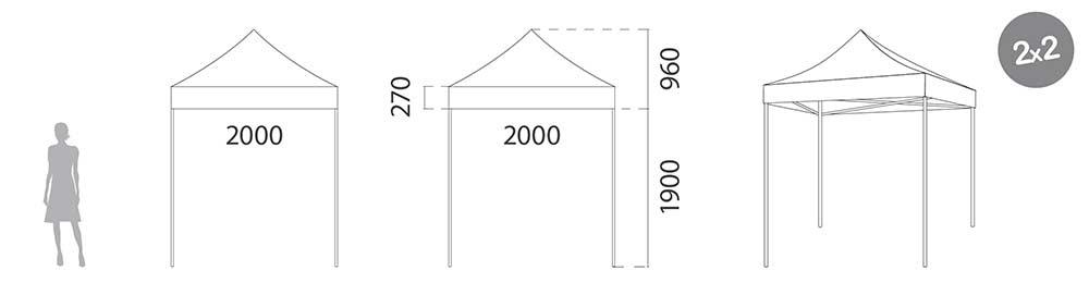 Carpa plegable de Acero 2x2 medidas