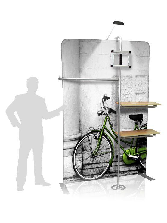 Display publicitario con soporte tablet y estantes