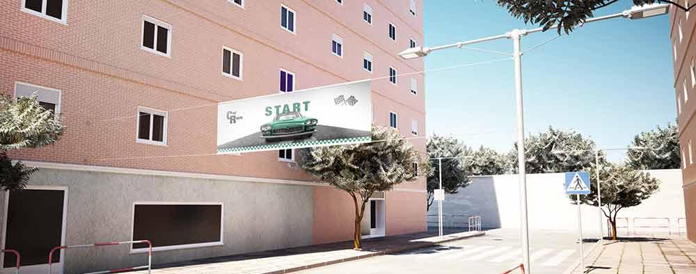 Mini Soporte Street Banner Screw ejemplo