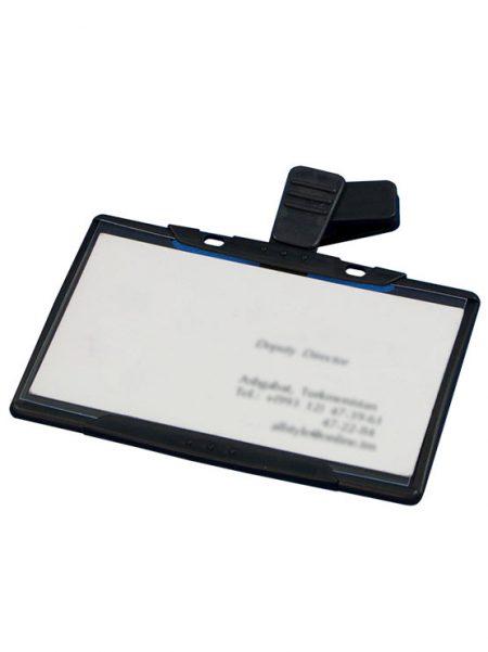 Porta tarjetas con clip rotativo (10 unidades)