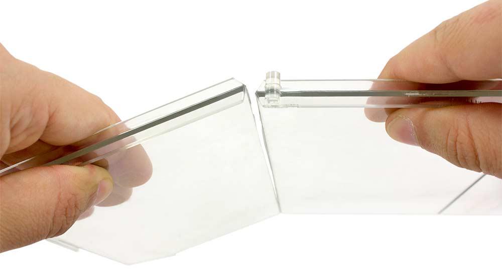 Divisor Plástico Transparente Quebradizo con L Frontal Izquierda