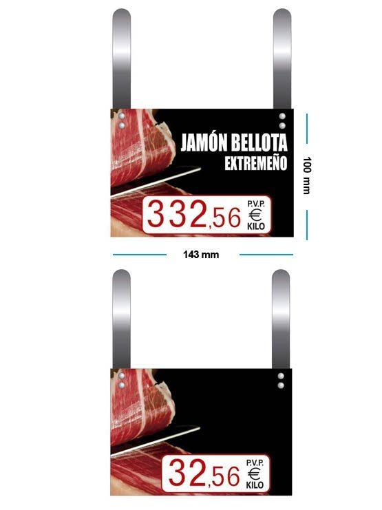 Cartel Precio Jamones con Ganchos