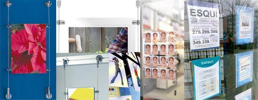 publicidad en escaparates con cable kit