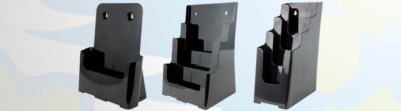 dispensador de folletos negros para colgar