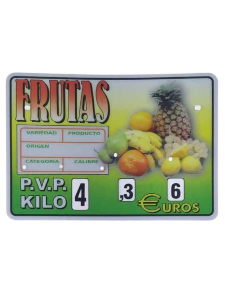 Cartel frutas con ruedas (paleta, ganchos o pletinas)