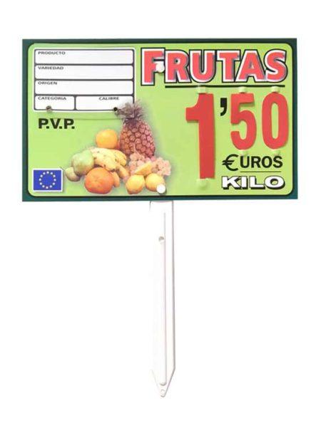 Porta precios frutas (paleta, ganchos o pletinas)