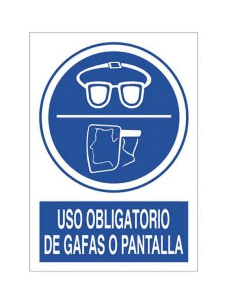 Cartel uso obligatorio de gafas o pantalla