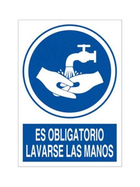 Cartel es obligatorio lavarse las manos