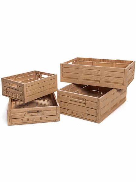 Cajas de plástico plegables efecto madera