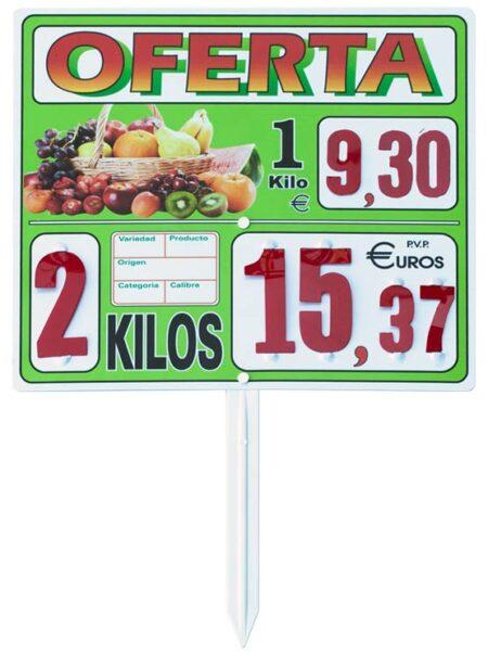 Carteles de precios grandes para frutería